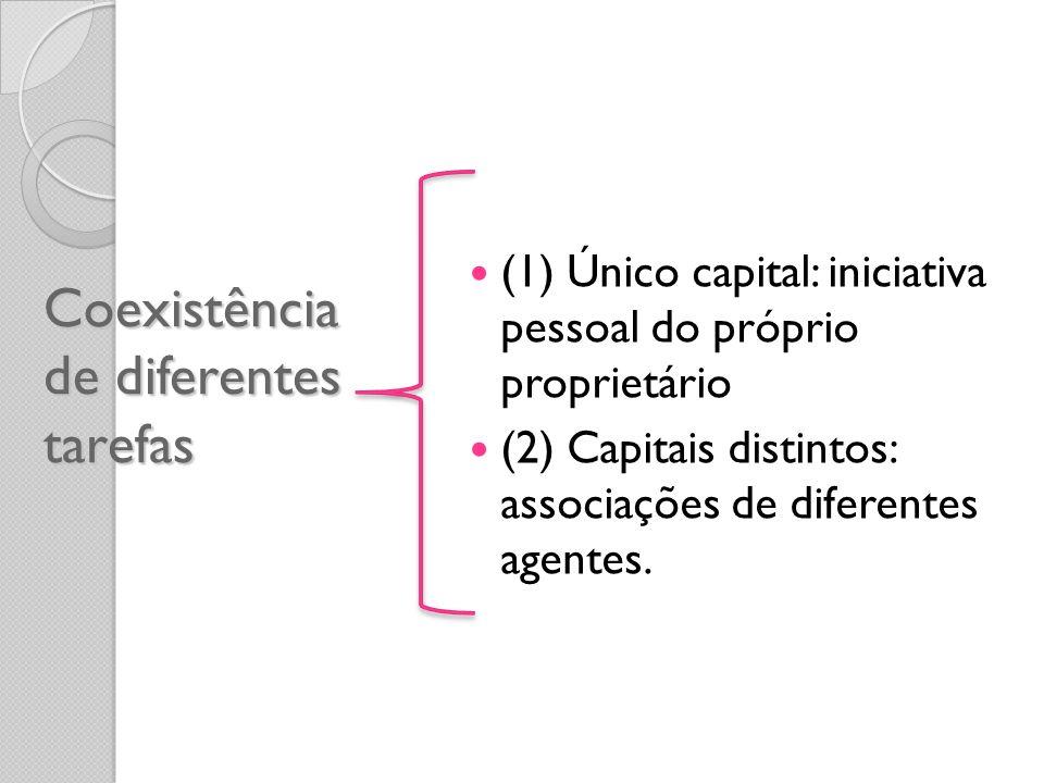 Coexistência de diferentes tarefas (1) Único capital: iniciativa pessoal do próprio proprietário (2) Capitais distintos: associações de diferentes age