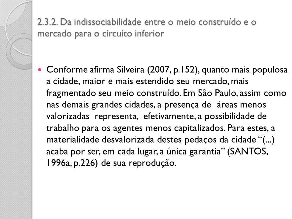 2.3.2. Da indissociabilidade entre o meio construído e o mercado para o circuito inferior Conforme afirma Silveira (2007, p.152), quanto mais populosa