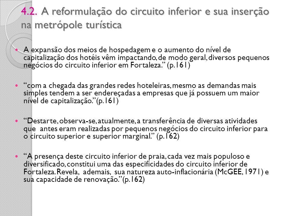 4.2. A reformulação do circuito inferior e sua inserção na metrópole turística 4.2. A reformulação do circuito inferior e sua inserção na metrópole tu