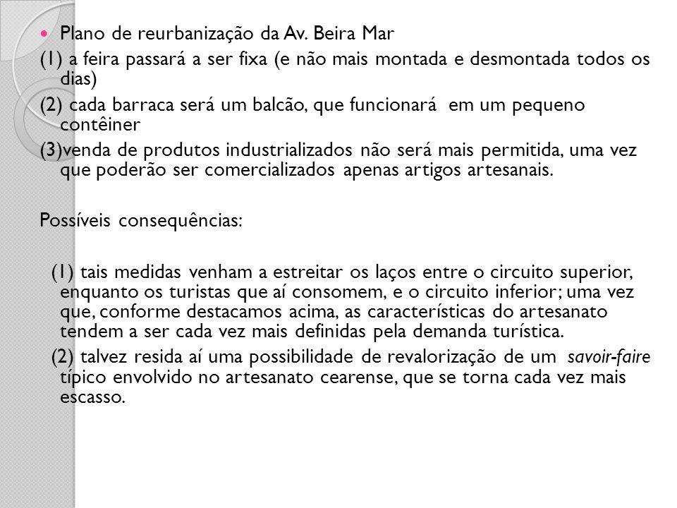 Plano de reurbanização da Av. Beira Mar (1) a feira passará a ser fixa (e não mais montada e desmontada todos os dias) (2) cada barraca será um balcão