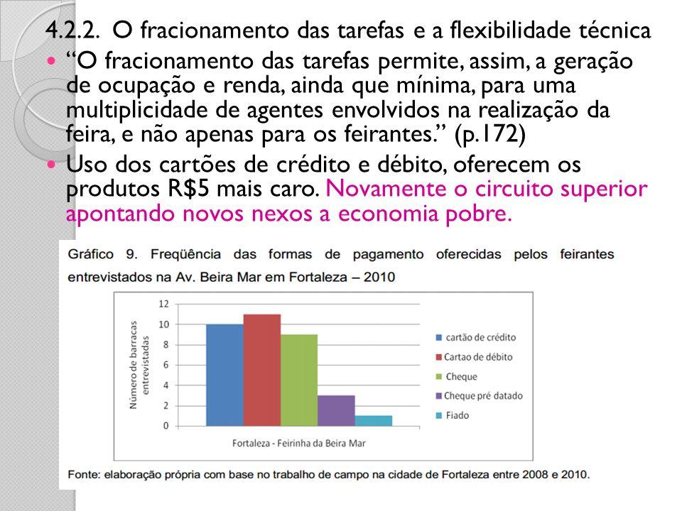 4.2.2. O fracionamento das tarefas e a flexibilidade técnica O fracionamento das tarefas permite, assim, a geração de ocupação e renda, ainda que míni