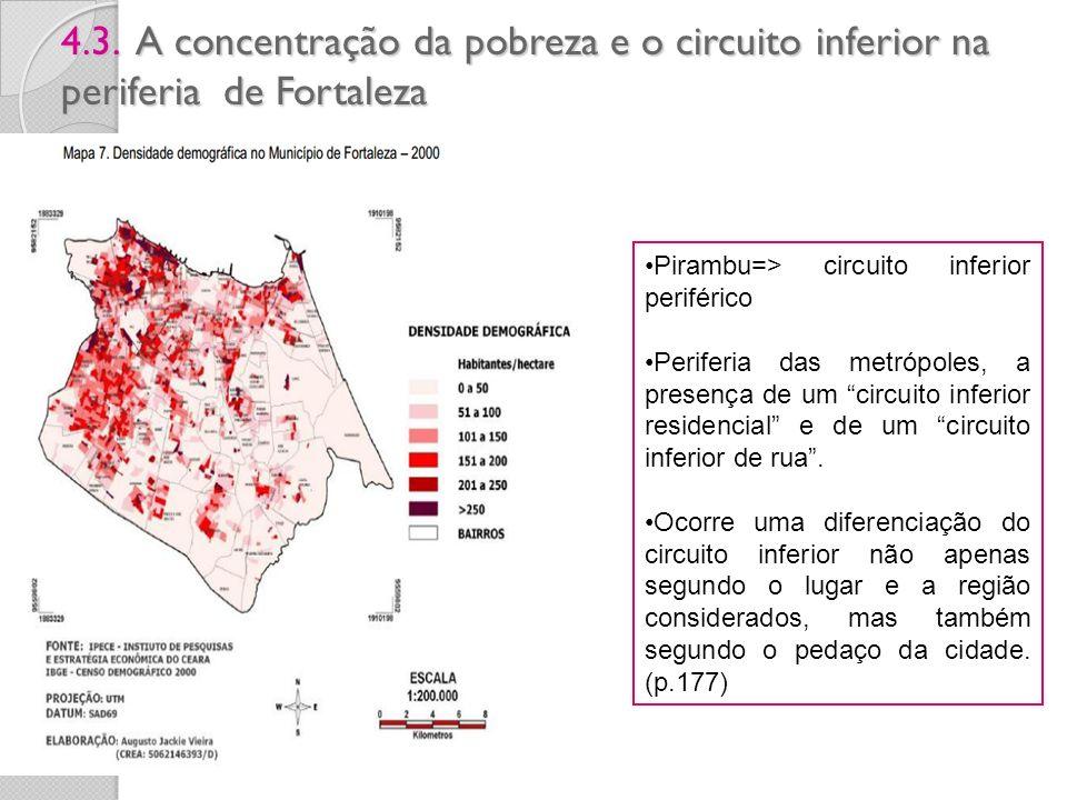 4.3. A concentração da pobreza e o circuito inferior na periferia de Fortaleza Pirambu=> circuito inferior periférico Periferia das metrópoles, a pres