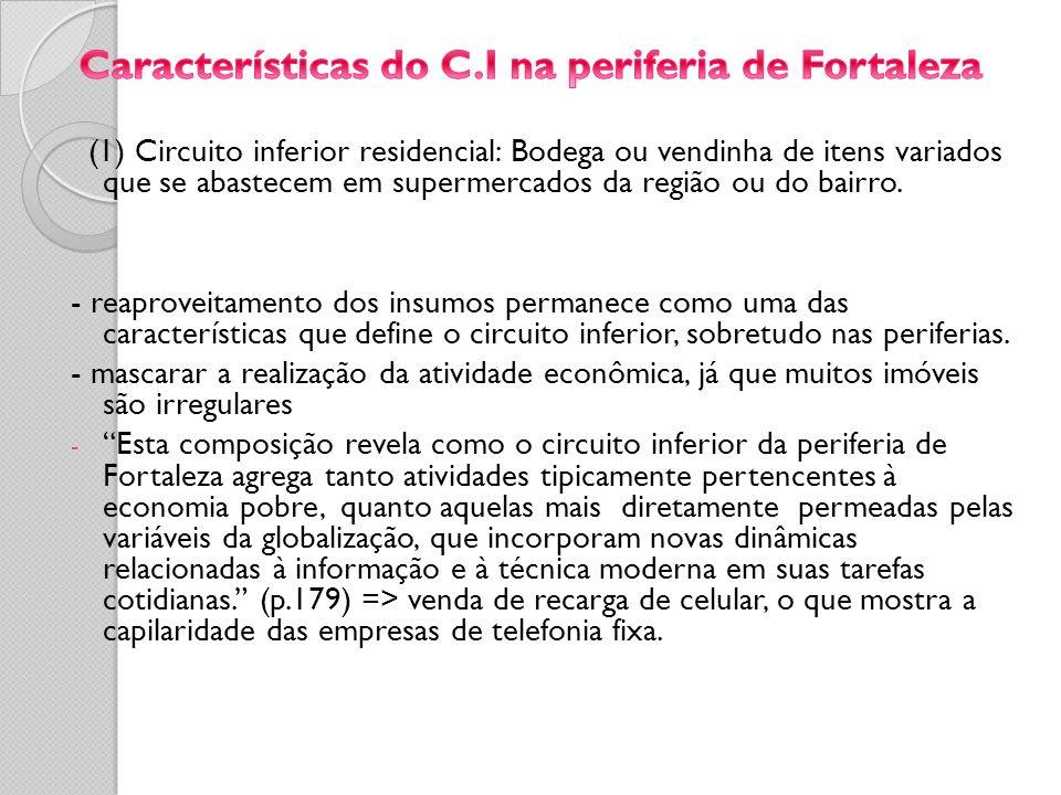 (1) Circuito inferior residencial: Bodega ou vendinha de itens variados que se abastecem em supermercados da região ou do bairro. - reaproveitamento d