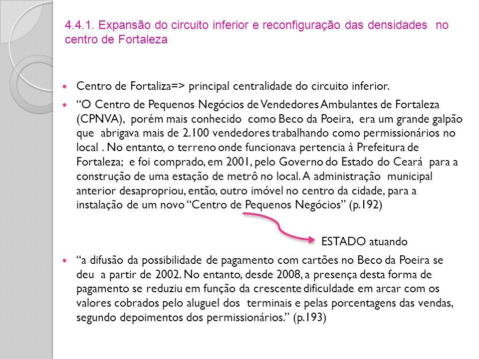 Centro de Fortaliza=> principal centralidade do circuito inferior. O Centro de Pequenos Negócios de Vendedores Ambulantes de Fortaleza (CPNVA), porém