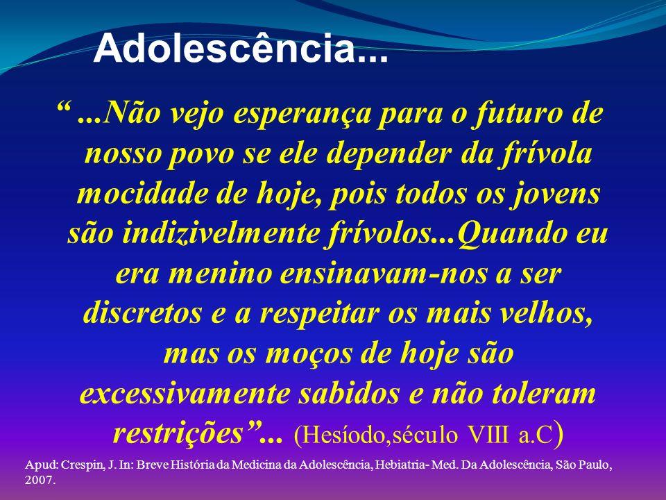 História: presente das coisas passadas 1885 – publicou-se o primeiro Code de Rulles (Inglaterra) 1887 - BOWDITCH, publicou tratado sobre o crescimento na adolescência; 1888- fundado -MEDICAL OFFICERS OF SCHOOLS (INGLATERRA); 1896- BIERENT (FR) publica- La Puberté, estudo sobre as características da puberdade Apud: Verònica Coates, contribui com esta história em seu livro: Medicina do Adolescente, SAVIER, São Paulo, 2003.