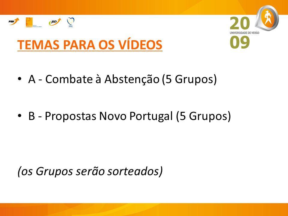 TEMAS PARA OS VÍDEOS A - Combate à Abstenção (5 Grupos) B - Propostas Novo Portugal (5 Grupos) (os Grupos serão sorteados)