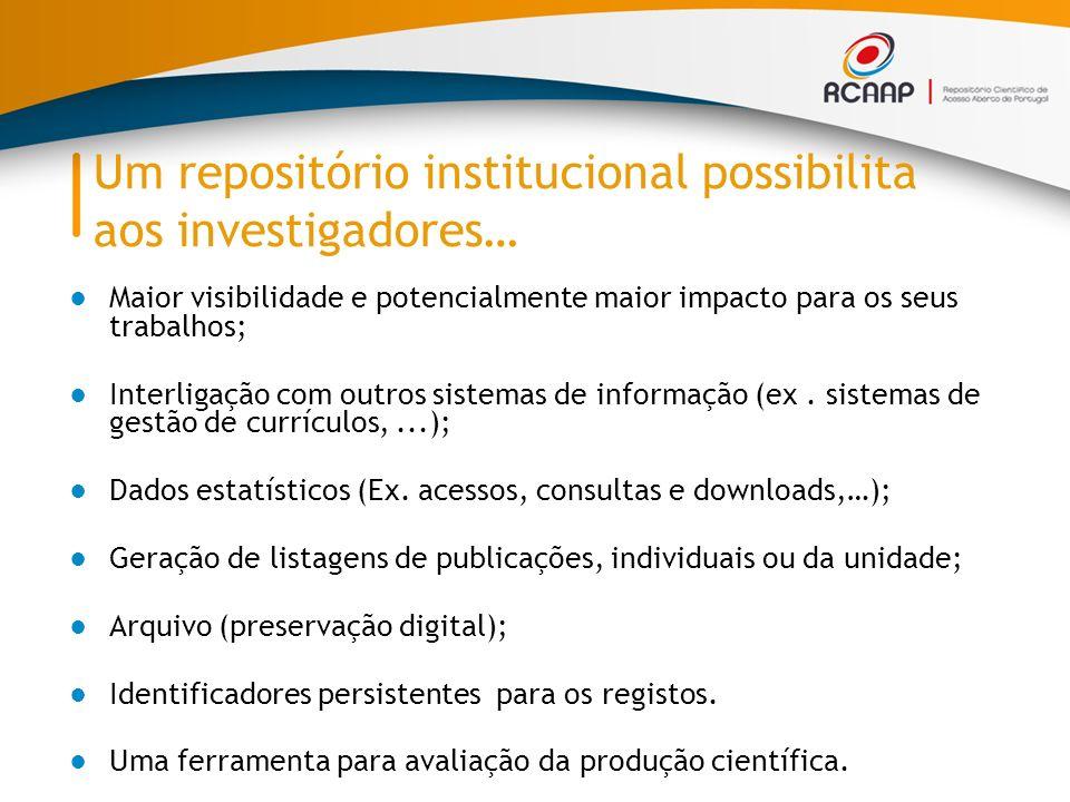 Maior visibilidade e potencialmente maior impacto para os seus trabalhos; Interligação com outros sistemas de informação (ex.