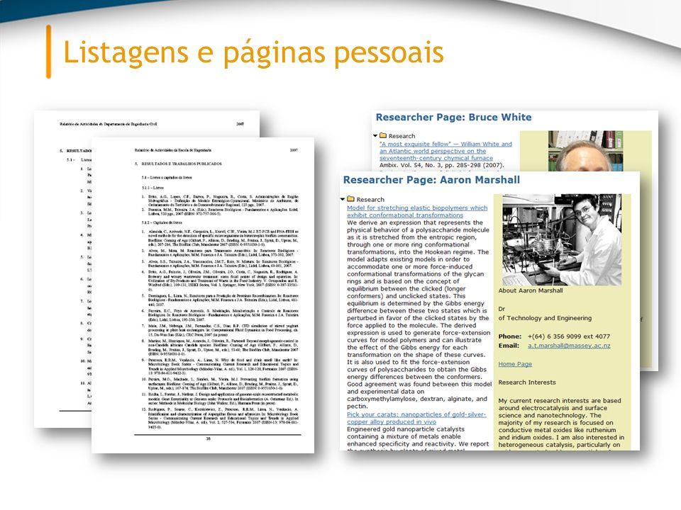 Listagens e páginas pessoais