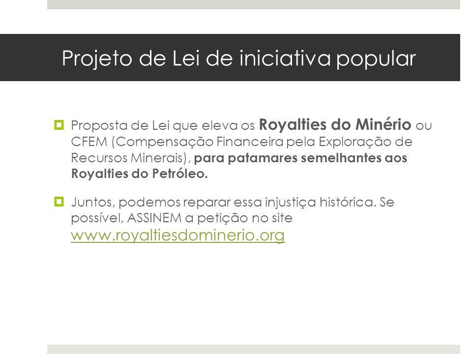 Projeto de Lei de iniciativa popular Proposta de Lei que eleva os Royalties do Minério ou CFEM (Compensação Financeira pela Exploração de Recursos Min