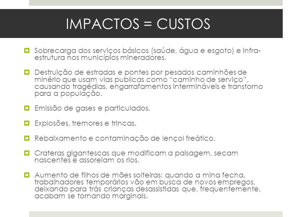 IMPACTOS = CUSTOS Sobrecarga dos serviços básicos (saúde, água e esgoto) e infra- estrutura nos municípios mineradores. Destruição de estradas e ponte