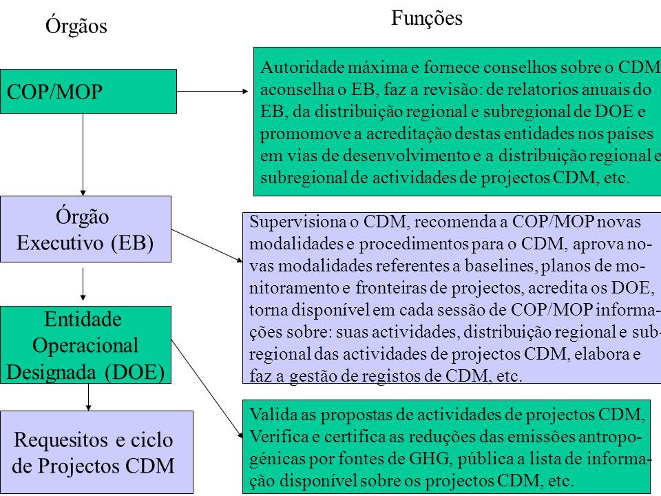 COP/MOP Órgão Executivo (EB) Entidade Operacional Designada (DOE) Requesitos e ciclo de Projectos CDM Autoridade máxima e fornece conselhos sobre o CD