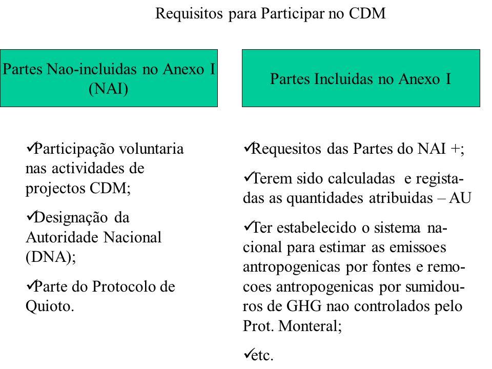 Requisitos para Participar no CDM Partes Nao-incluidas no Anexo I (NAI) Partes Incluidas no Anexo I Participação voluntaria nas actividades de project