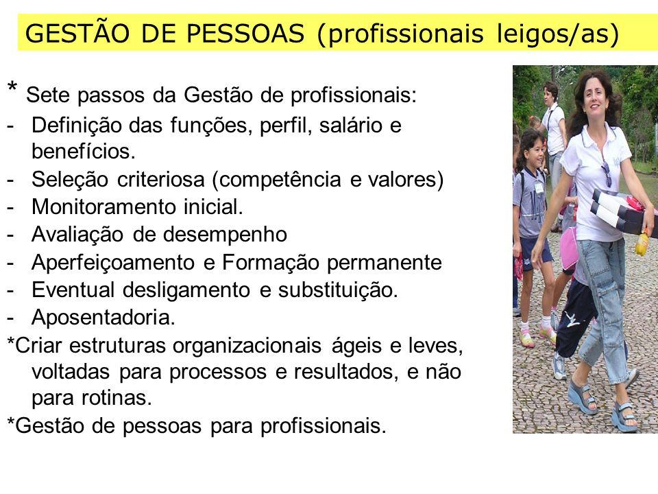 * Sete passos da Gestão de profissionais: -Definição das funções, perfil, salário e benefícios.