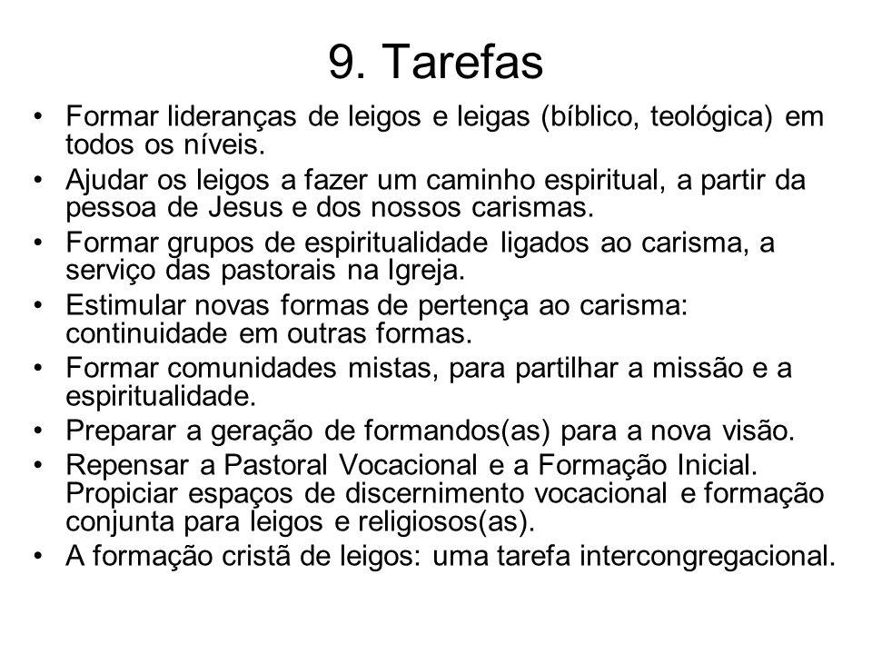9.Tarefas Formar lideranças de leigos e leigas (bíblico, teológica) em todos os níveis.