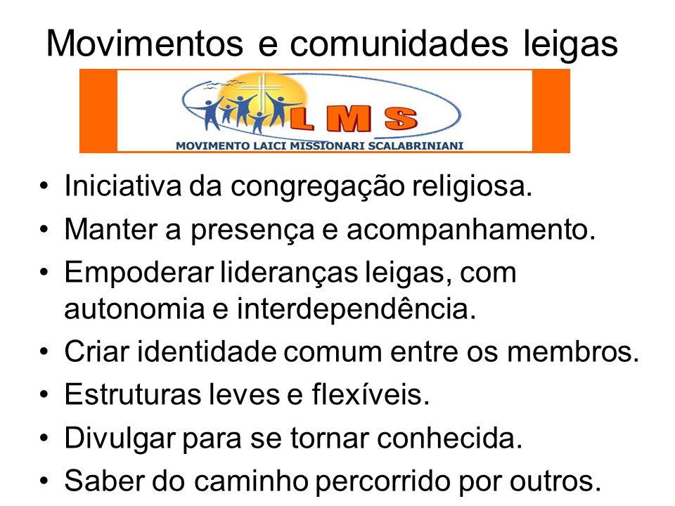 Movimentos e comunidades leigas Iniciativa da congregação religiosa.