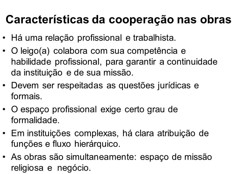Características da cooperação nas obras Há uma relação profissional e trabalhista.