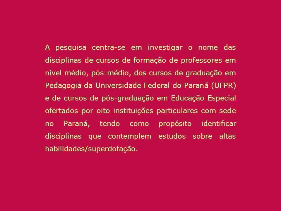 A pesquisa centra-se em investigar o nome das disciplinas de cursos de formação de professores em nível médio, pós-médio, dos cursos de graduação em P