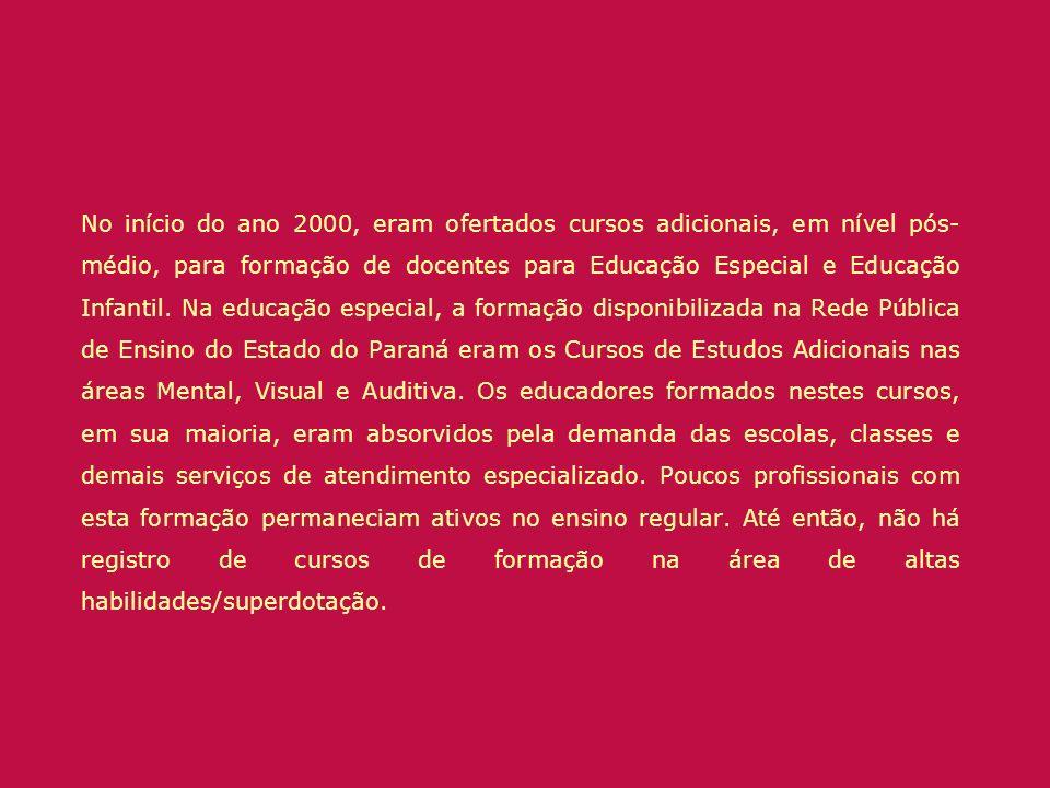 No início do ano 2000, eram ofertados cursos adicionais, em nível pós- médio, para formação de docentes para Educação Especial e Educação Infantil. Na
