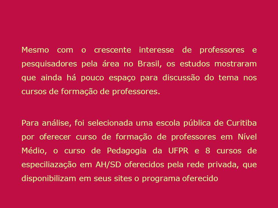Mesmo com o crescente interesse de professores e pesquisadores pela área no Brasil, os estudos mostraram que ainda há pouco espaço para discussão do t