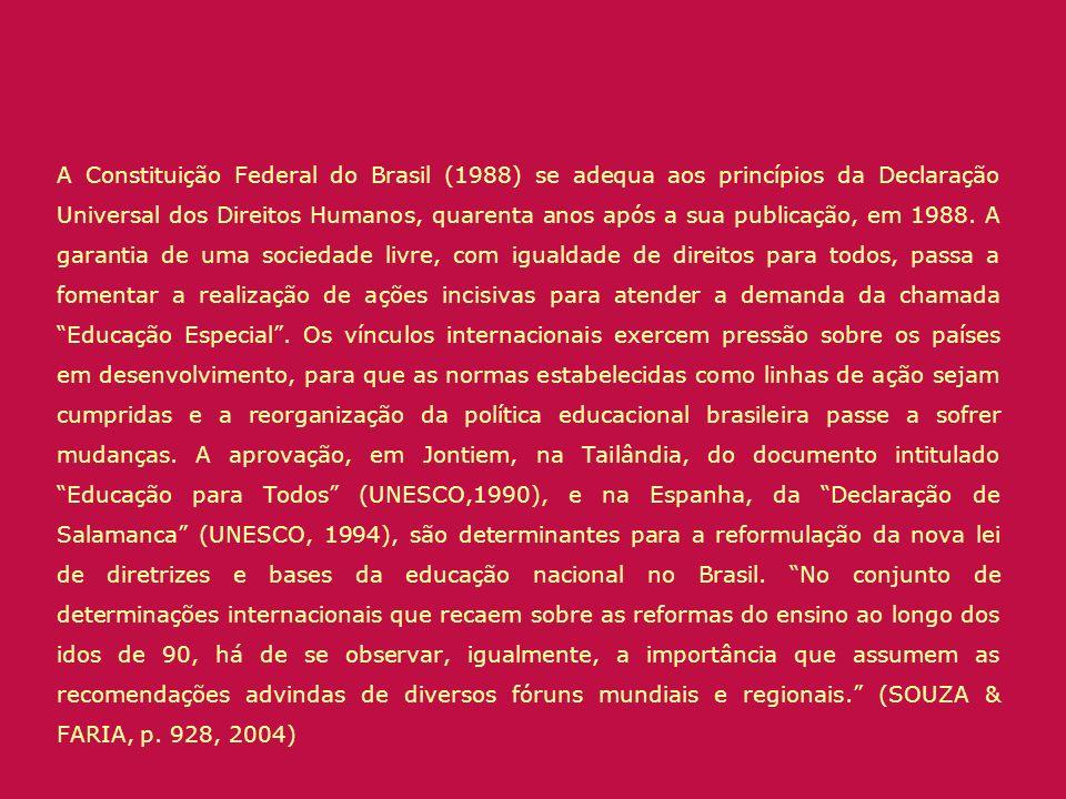 A Constituição Federal do Brasil (1988) se adequa aos princípios da Declaração Universal dos Direitos Humanos, quarenta anos após a sua publicação, em