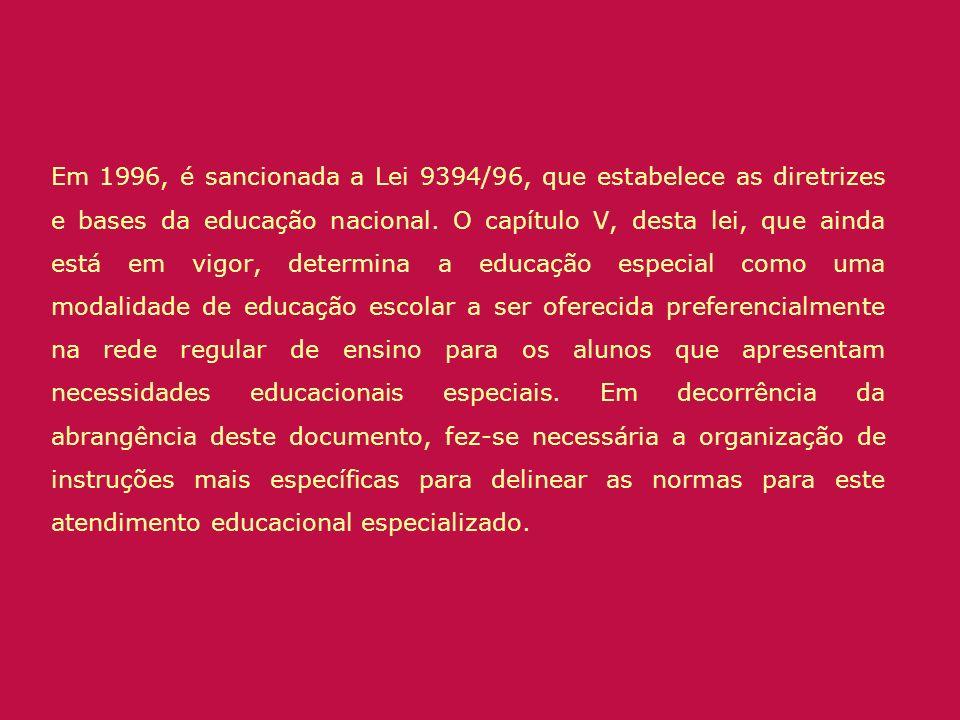 Em 1996, é sancionada a Lei 9394/96, que estabelece as diretrizes e bases da educação nacional. O capítulo V, desta lei, que ainda está em vigor, dete