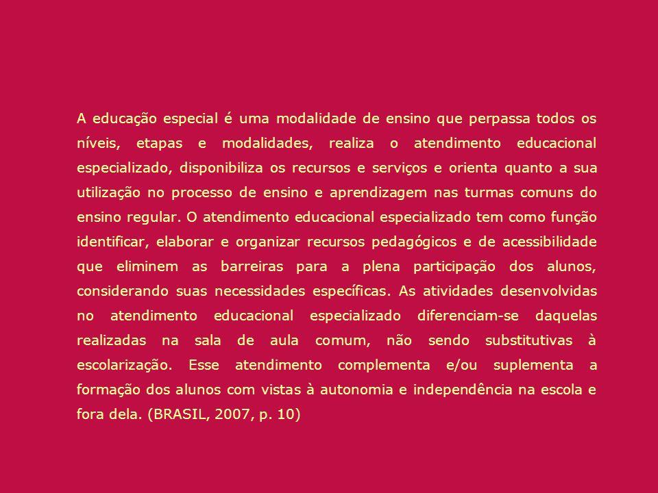 A educação especial é uma modalidade de ensino que perpassa todos os níveis, etapas e modalidades, realiza o atendimento educacional especializado, di