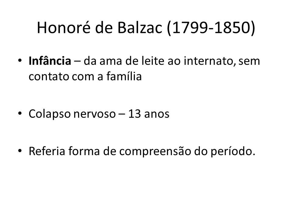 Honoré de Balzac (1799-1850) Infância – da ama de leite ao internato, sem contato com a família Colapso nervoso – 13 anos Referia forma de compreensão