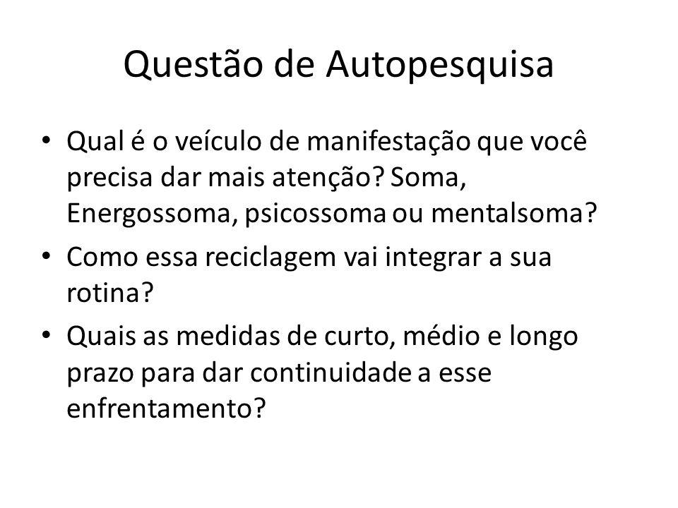 Questão de Autopesquisa Qual é o veículo de manifestação que você precisa dar mais atenção? Soma, Energossoma, psicossoma ou mentalsoma? Como essa rec