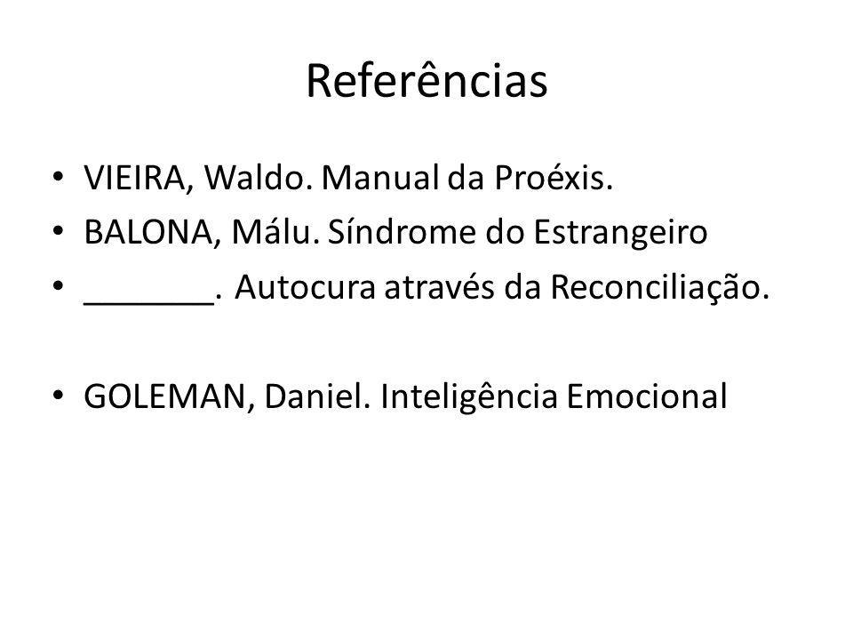 Referências VIEIRA, Waldo. Manual da Proéxis. BALONA, Málu. Síndrome do Estrangeiro _______. Autocura através da Reconciliação. GOLEMAN, Daniel. Intel