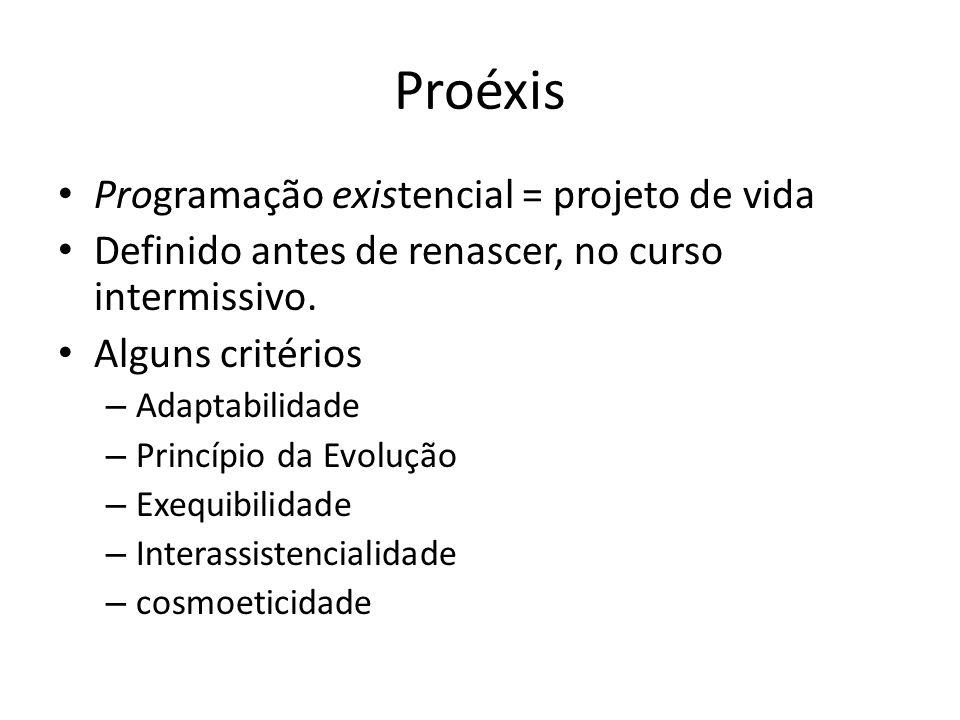 Proéxis Programação existencial = projeto de vida Definido antes de renascer, no curso intermissivo. Alguns critérios – Adaptabilidade – Princípio da
