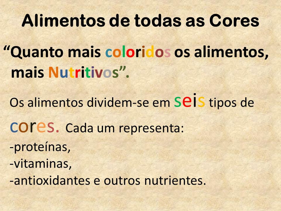 Alimentos de todas as Cores Quanto mais coloridos os alimentos, mais Nutritivos. Os alimentos dividem-se em seis tipos de cores. Cada um representa: -
