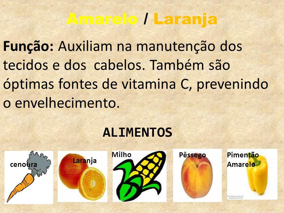 Amarelo / Laranja Função: Auxiliam na manutenção dos tecidos e dos cabelos. Também são óptimas fontes de vitamina C, prevenindo o envelhecimento. Lara