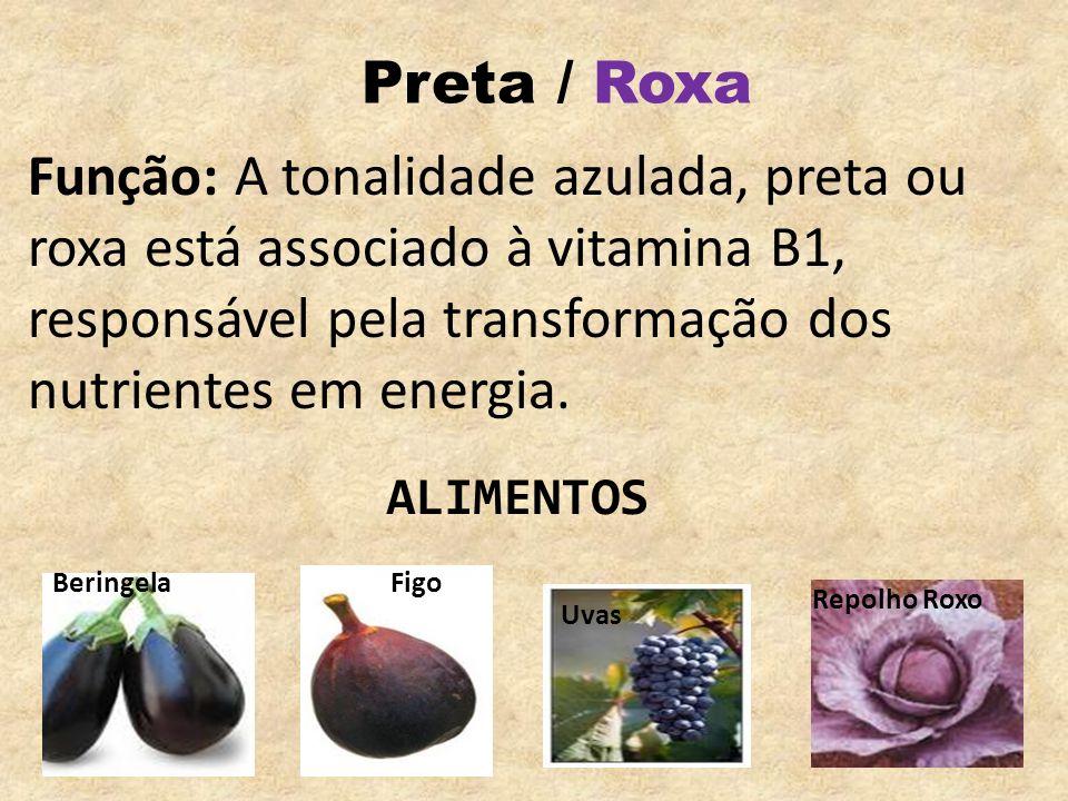 Preta / Roxa Função: A tonalidade azulada, preta ou roxa está associado à vitamina B1, responsável pela transformação dos nutrientes em energia. Uvas