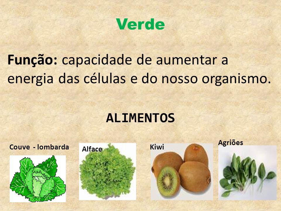 Verde Função: capacidade de aumentar a energia das células e do nosso organismo. Alface KiwiCouve - lombarda Agriões ALIMENTOS
