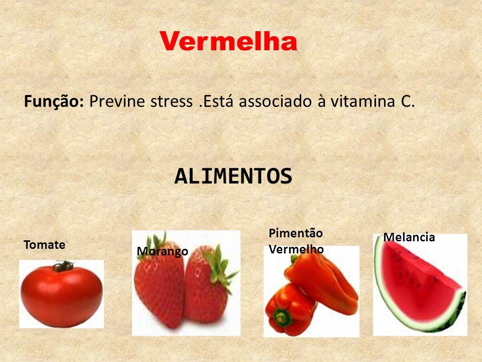 Vermelha Função: Previne stress.Está associado à vitamina C. Morango Melancia Pimentão Vermelho Tomate ALIMENTOS