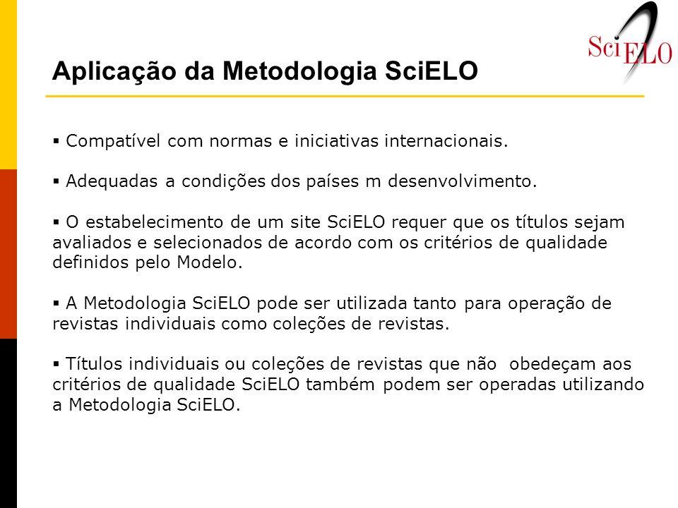 Aplicação da Metodologia SciELO Compatível com normas e iniciativas internacionais. Adequadas a condições dos países m desenvolvimento. O estabelecime