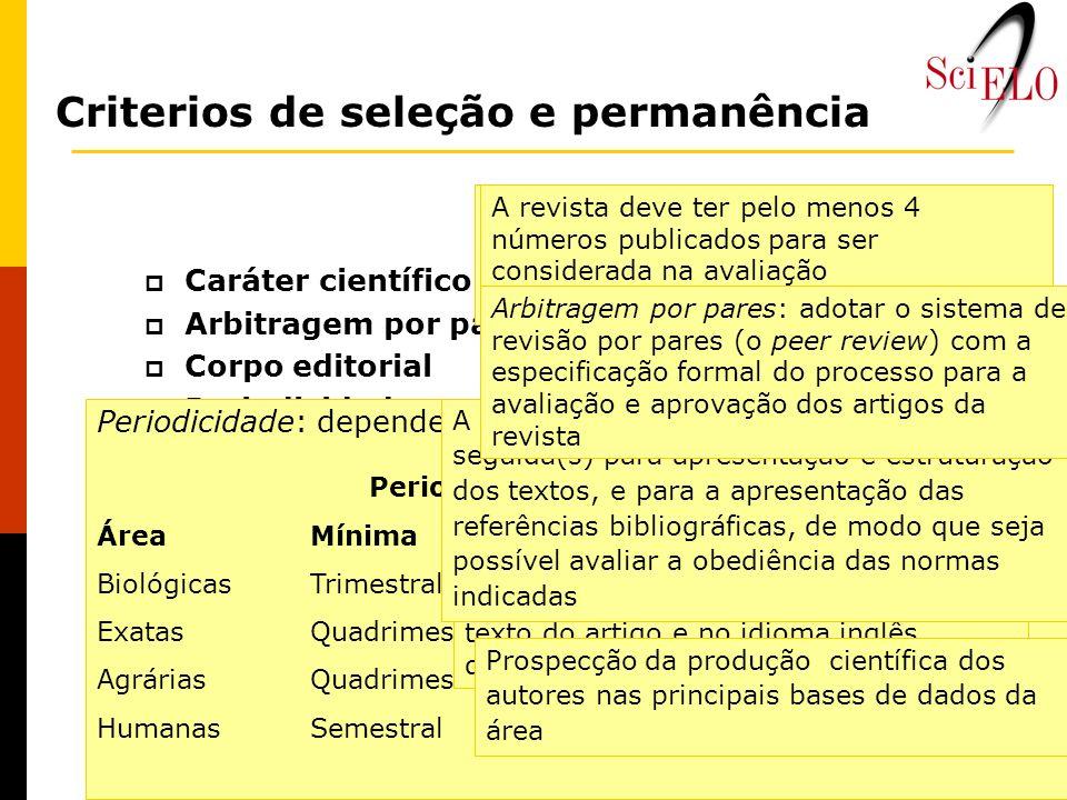 Caráter científico Arbitragem por pares (Peer review) Corpo editorial Periodicidade Tempo de existência Pontualidade Títulos, resumos e descritores em
