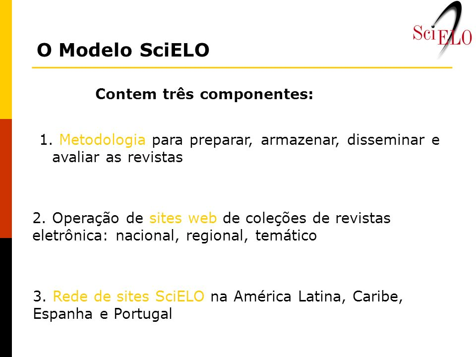 O Modelo SciELO Contem três componentes: 1. Metodologia para preparar, armazenar, disseminar e avaliar as revistas 2. Operação de sites web de coleçõe