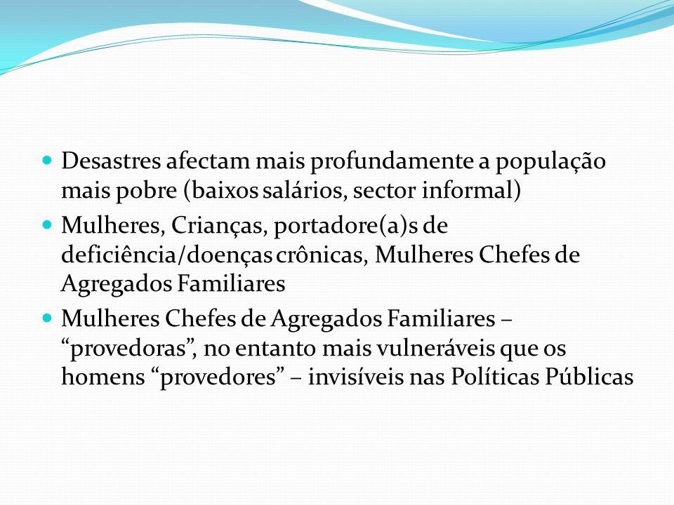 Desastres afectam mais profundamente a população mais pobre (baixos salários, sector informal) Mulheres, Crianças, portadore(a)s de deficiência/doença