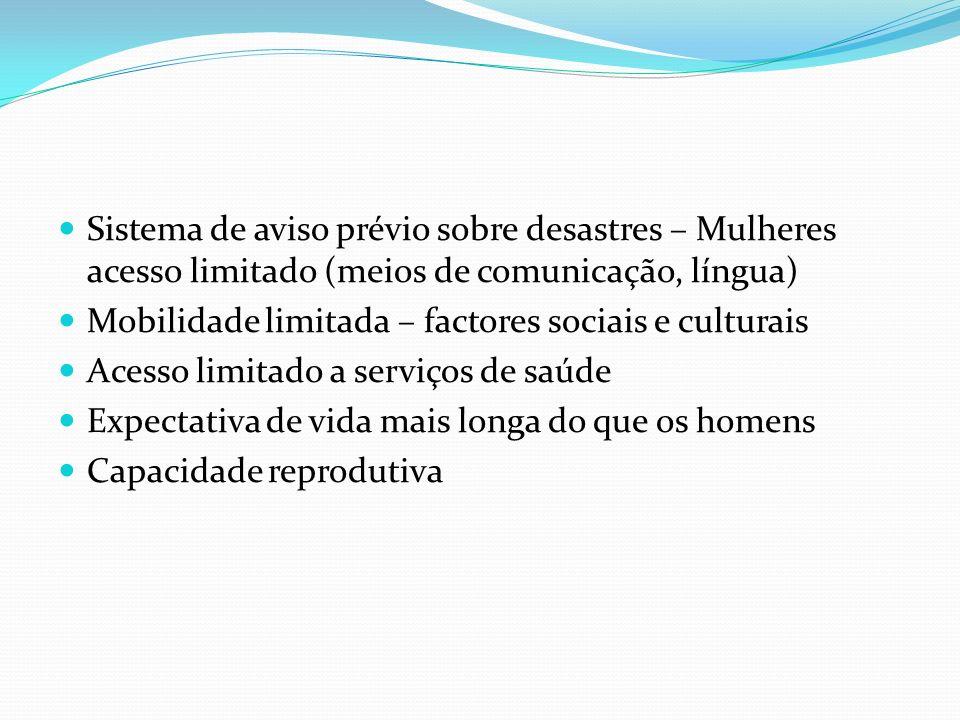 Sistema de aviso prévio sobre desastres – Mulheres acesso limitado (meios de comunicação, língua) Mobilidade limitada – factores sociais e culturais A
