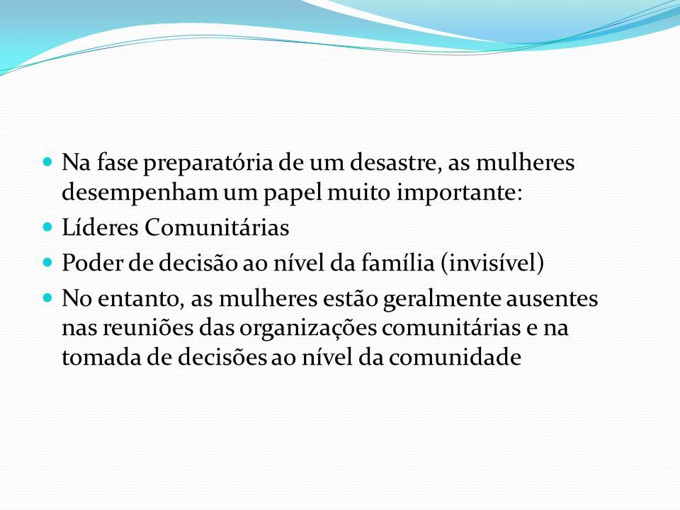 Na fase preparatória de um desastre, as mulheres desempenham um papel muito importante: Líderes Comunitárias Poder de decisão ao nível da família (inv
