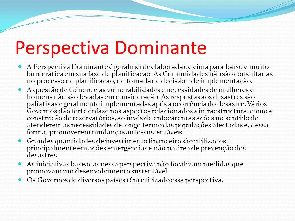 Perspectiva Dominante A Perspectiva Dominante é geralmente elaborada de cima para baixo e muito burocrática em sua fase de planificacao. As Comunidade