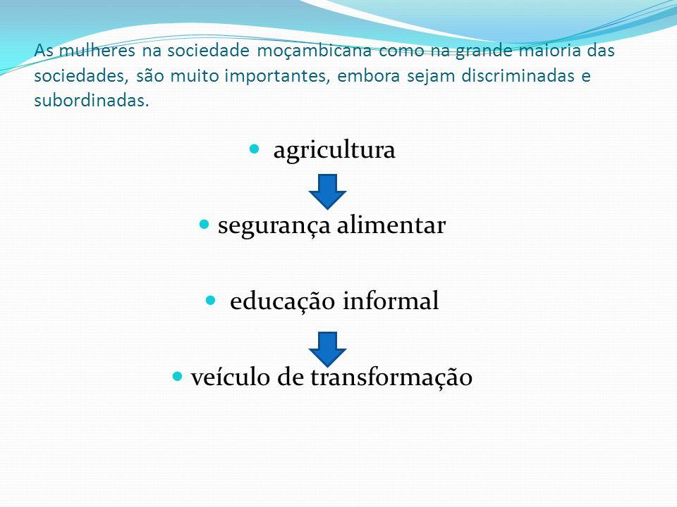 As mulheres na sociedade moçambicana como na grande maioria das sociedades, são muito importantes, embora sejam discriminadas e subordinadas. agricult