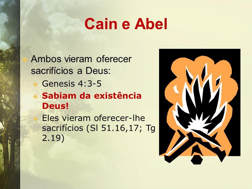 Cain e Abel Ambos vieram oferecer sacrifícios a Deus: Genesis 4:3-5 Sabiam da existência Deus! Eles vieram oferecer-lhe sacrifícios (Sl 51.16,17; Tg 2