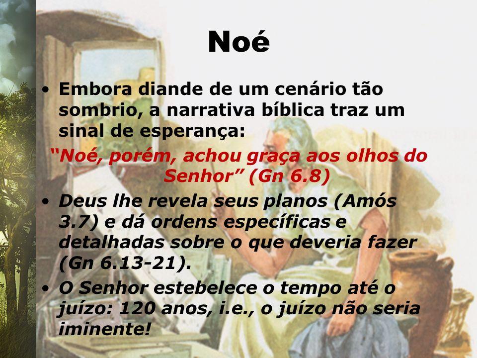 Noé Embora diande de um cenário tão sombrio, a narrativa bíblica traz um sinal de esperança: Noé, porém, achou graça aos olhos do Senhor (Gn 6.8) Deus