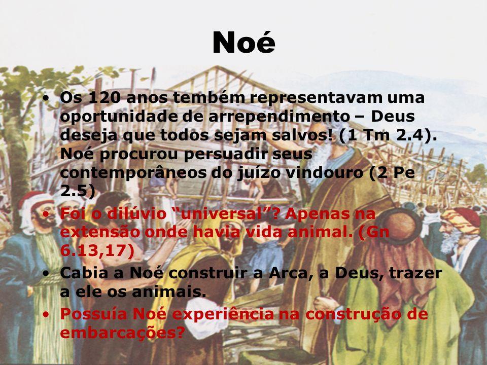 Noé Os 120 anos tembém representavam uma oportunidade de arrependimento – Deus deseja que todos sejam salvos! (1 Tm 2.4). Noé procurou persuadir seus