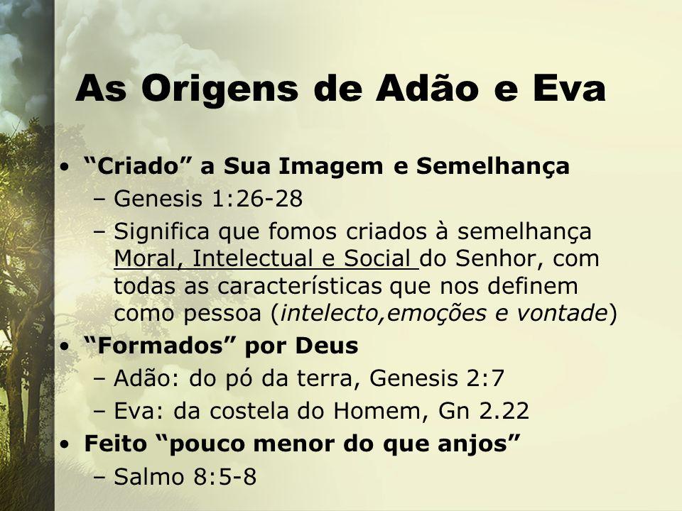 As Origens de Adão e Eva Deus criou o homem (Adão=hb.