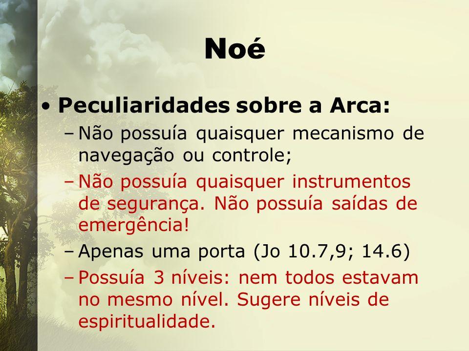 Noé Peculiaridades sobre a Arca: –Não possuía quaisquer mecanismo de navegação ou controle; –Não possuía quaisquer instrumentos de segurança. Não poss