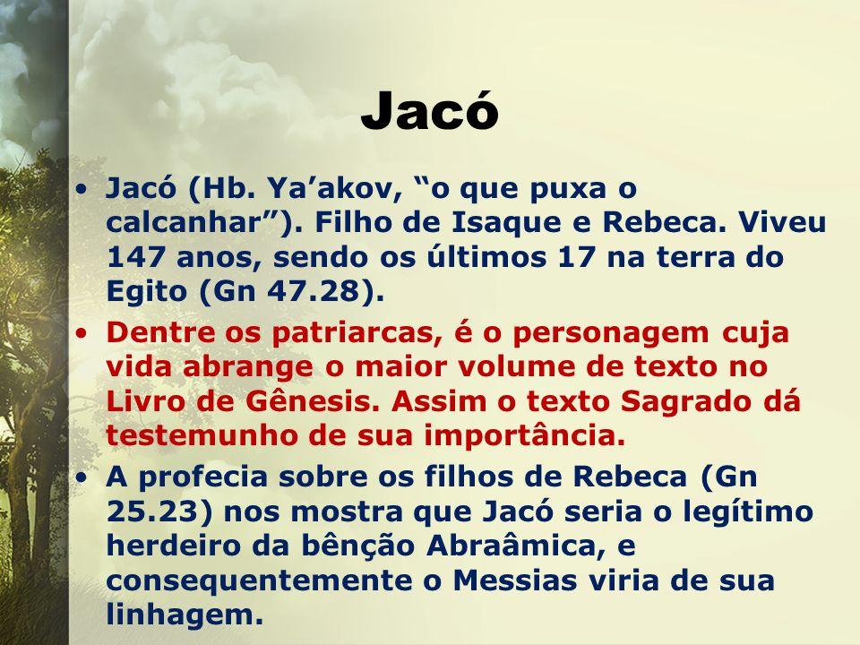 Jacó Jacó (Hb. Yaakov, o que puxa o calcanhar). Filho de Isaque e Rebeca. Viveu 147 anos, sendo os últimos 17 na terra do Egito (Gn 47.28). Dentre os