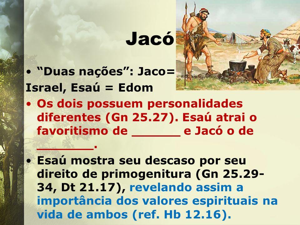 Jacó Duas nações: Jaco= Israel, Esaú = Edom Os dois possuem personalidades diferentes (Gn 25.27). Esaú atrai o favoritismo de ______ e Jacó o de _____